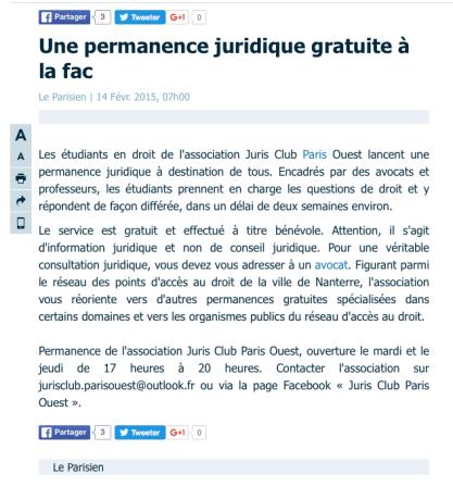 Le JCPO dans le Parisien